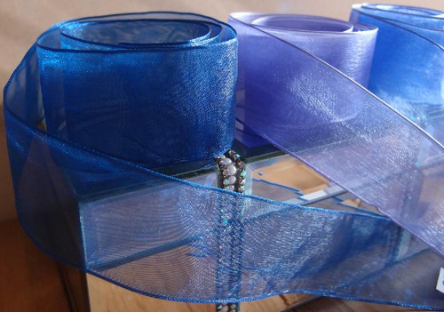 Royal Blue Sheer Ribbon with Wired Edge (2 sizes)