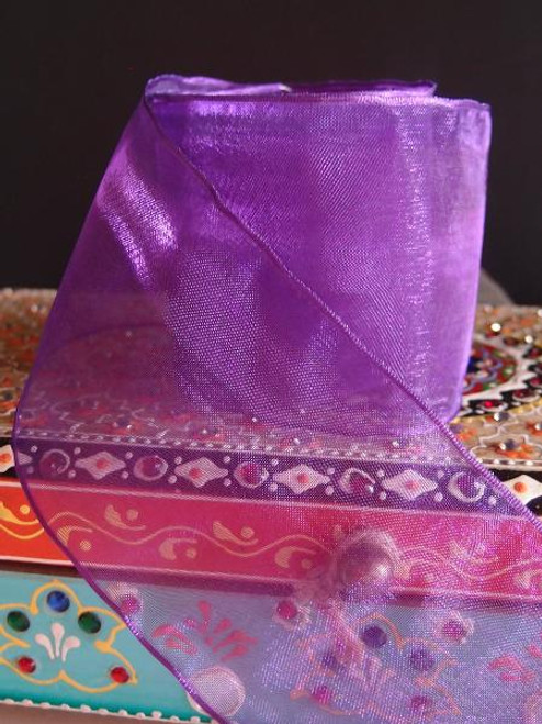 Purple Sheer Ribbon with Wired Edge (2 sizes)