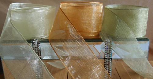 Gold Sheer Ribbon with Wired Edge (2 sizes)