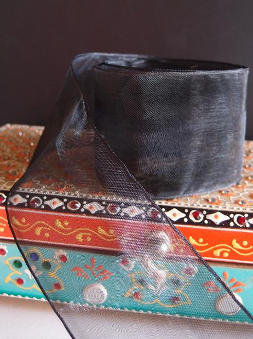 Black Sheer Ribbon with Wired Edge (2 sizes)