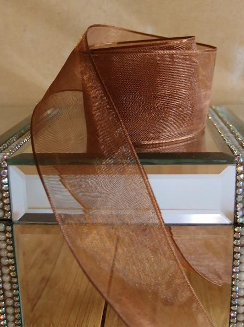 Brown Sheer Ribbon with Wired Edge (2 sizes)