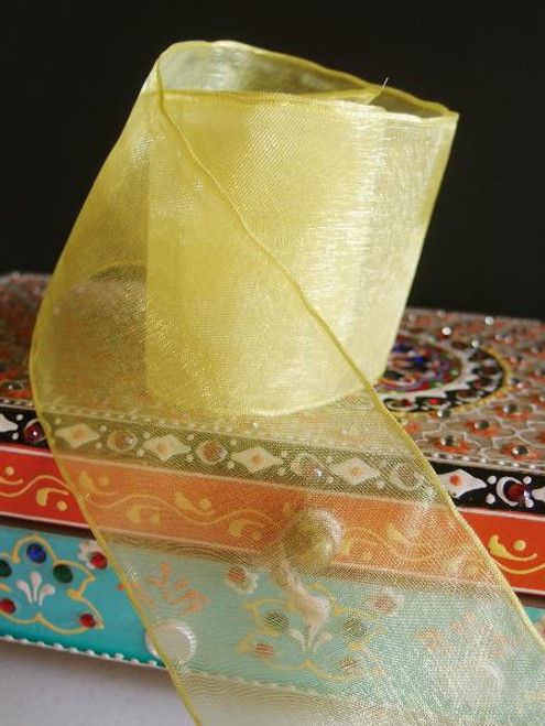 Yellow Sheer Ribbon with Wired Edge (1 size)