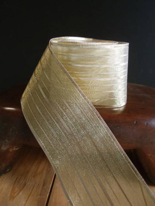 Gold Stripes Metallic Wired Ribbon (4 sizes)