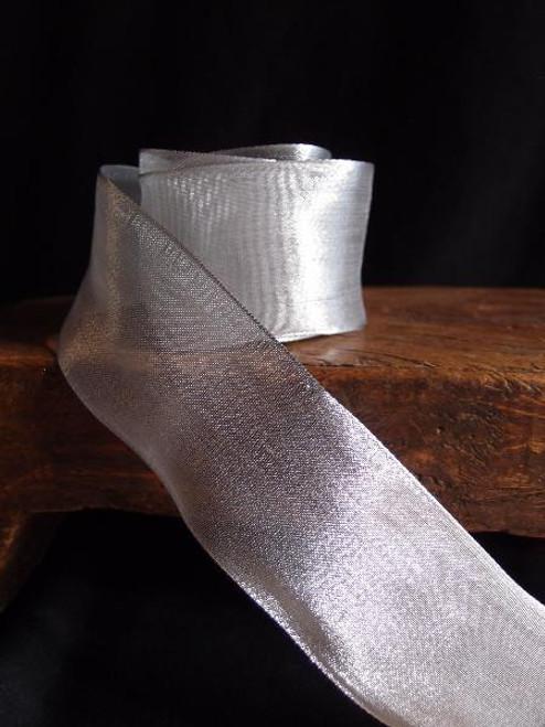 Plain Silver  w/Wire Metallic Ribbon (5 sizes)