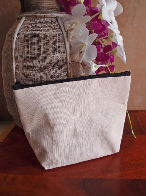 Cotton Canvas Zipper Pouch 10""