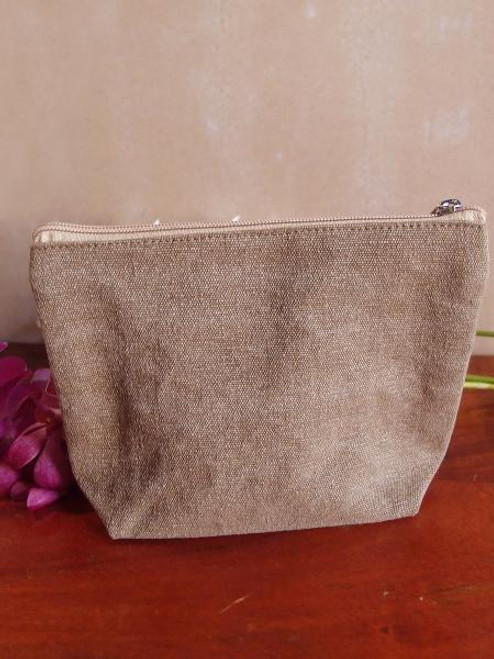 Cotton Brown Washed Canvas Zipper Pouch 10""