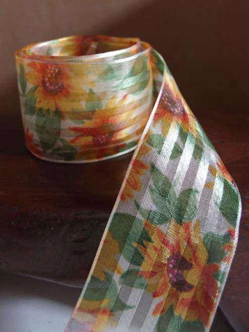 Sunflowers Print Satin/Sheer with Wired Ribbon