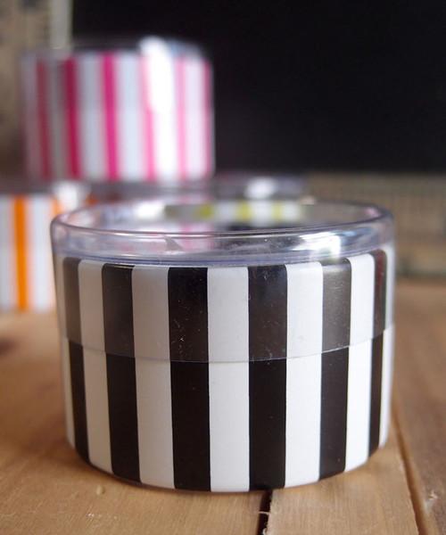 "2""dia. x 1""H Cylinder Box-Black Stripes"