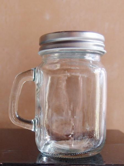 Glass Jar with Handle and Metal Top