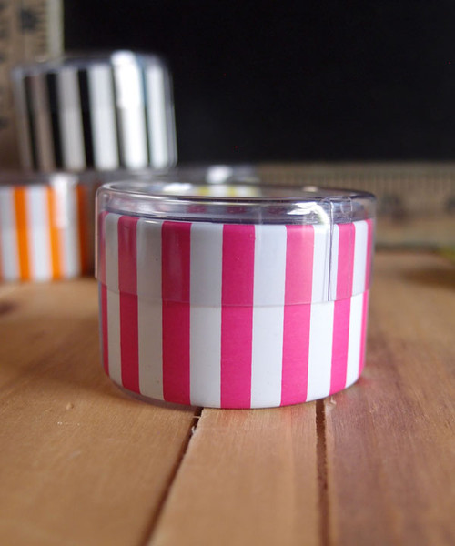 "2""dia. x 1""H Cylinder Box-Hot Pink Stripes"