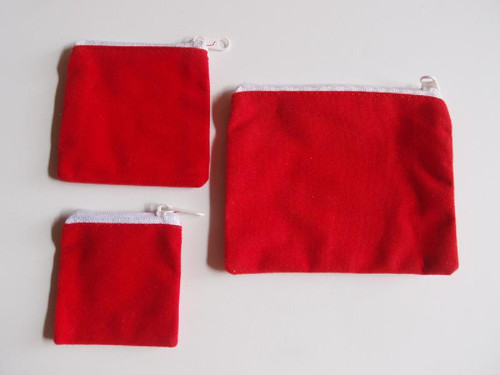 "Red Velvet Zippered Bag 5"" x 4"""