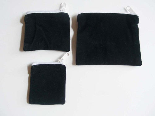 Black Velvet Zippered Bag 2 1/2 x 2 1/2 inches, Cosmetic Bags, Wholesale Zipper Bags  | Packaging Decor