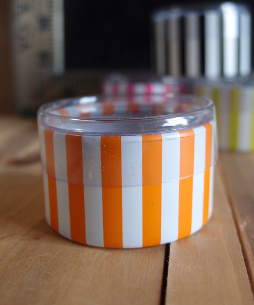 "2""dia. x 1""H Cylinder Box-Orange Stripes"