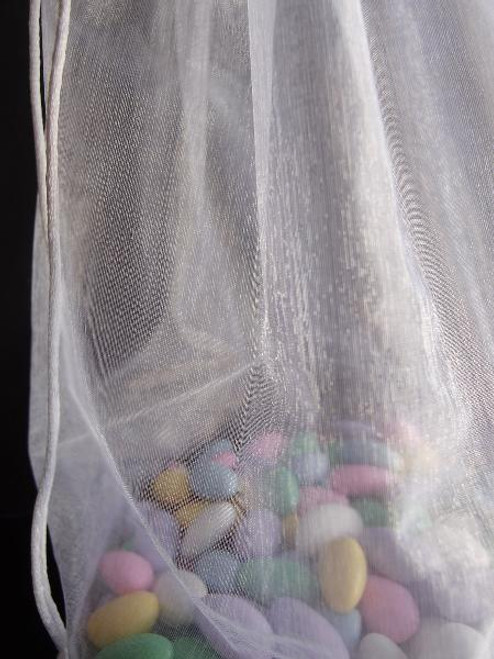 White Round Gusset Organza  Bag