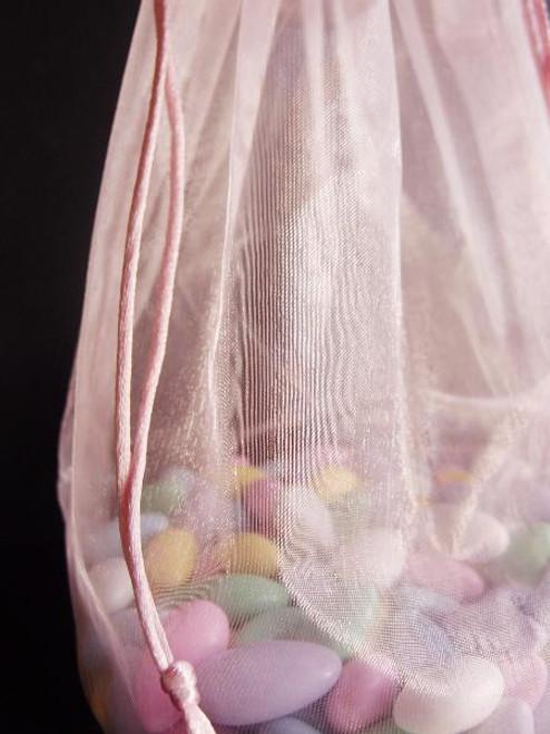 Pink Round Gusset Organza Bag