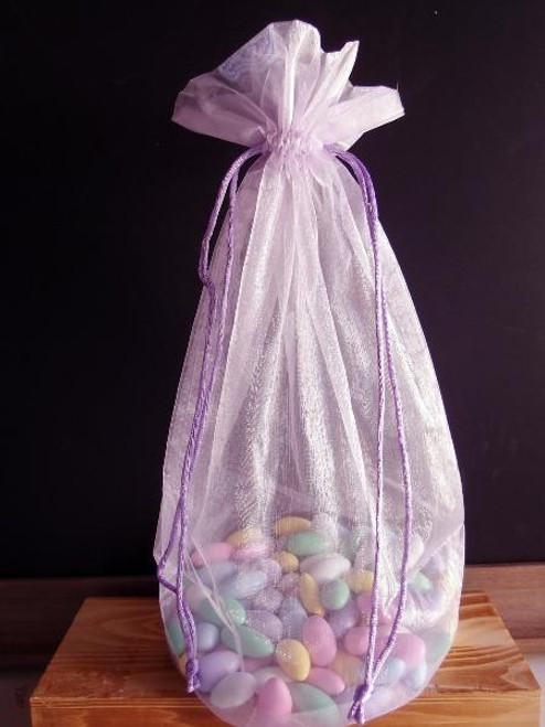Lavender Round Gusset Organza Bag