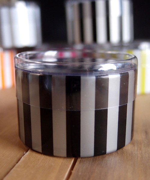 "2""dia. x 1""H Cylinder Box-Black/Silver Stripes"