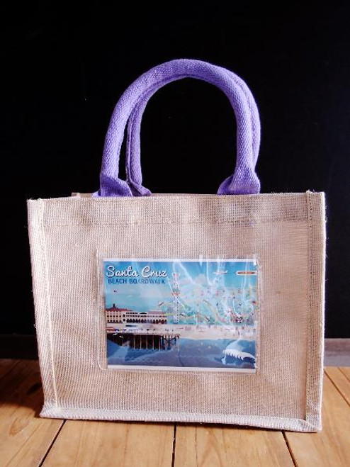 "Jute Blend Tote w/Photo Pocket 10"" x 8"" x 5"" Violet Handles"