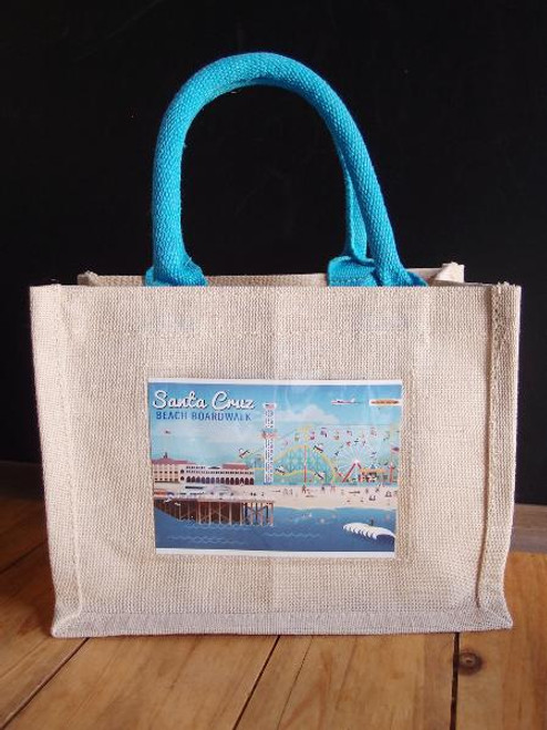 "Jute Blend Tote w/Photo Pocket 10"" x 8"" x 5"" Blue Handles"