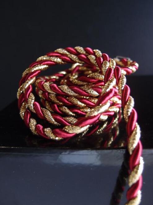 Burgundy & Gold Rope 5.5mm x 10Y