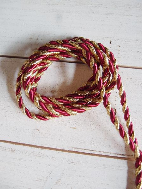 Burgundy & Gold Rope 5.5mm x 10Y