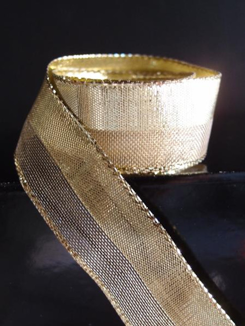 Gold Nylon Metallic  Wired Ribbon (4 sizes)