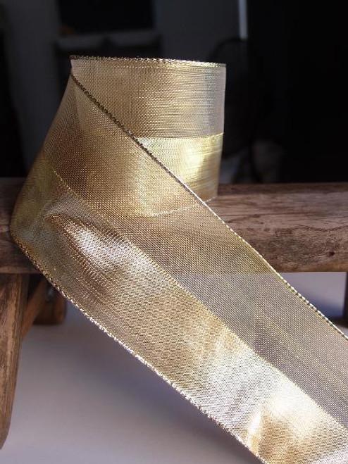 Gold Nylon Metallic  Wired Ribbon (4 sizes)