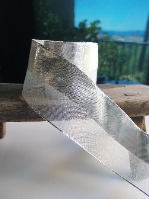 Silver Nylon Metallic Wired Ribbon (4 sizes)