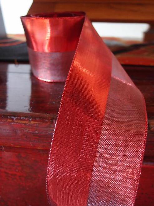 Red Nylon Metallic Wired Ribbon (3 sizes)