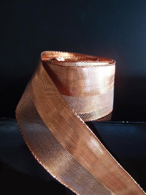 Copper Nylon Metallic Wired Ribbon (3 sizes)