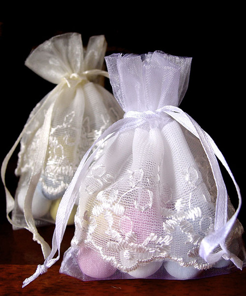 White Wedding Bag with Lace Trim