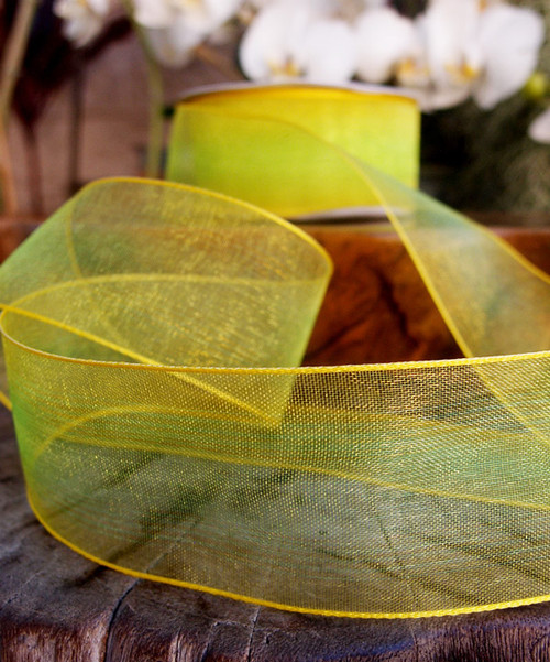 Yellow/Neon Two Tone Iridescent Ribbon