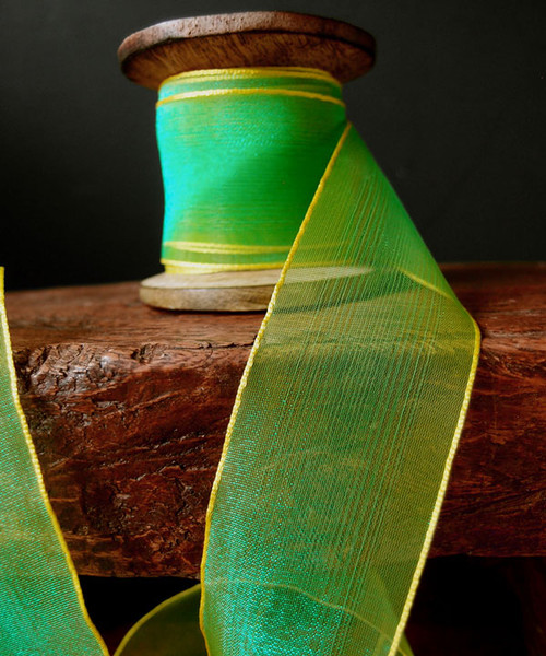 Green/Yellow Two Tone Iridescent Ribbon