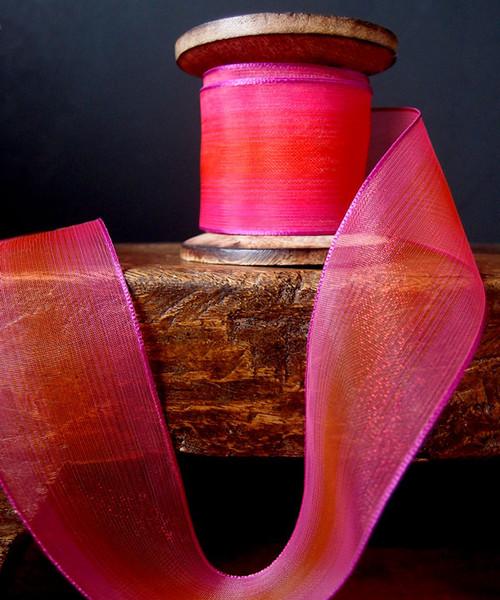 Orange/Hot Pink Two Tone Iridescent Ribbon