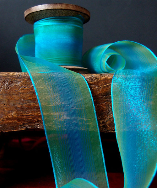 Turquoise/Green Two Tone Iridescent Ribbon