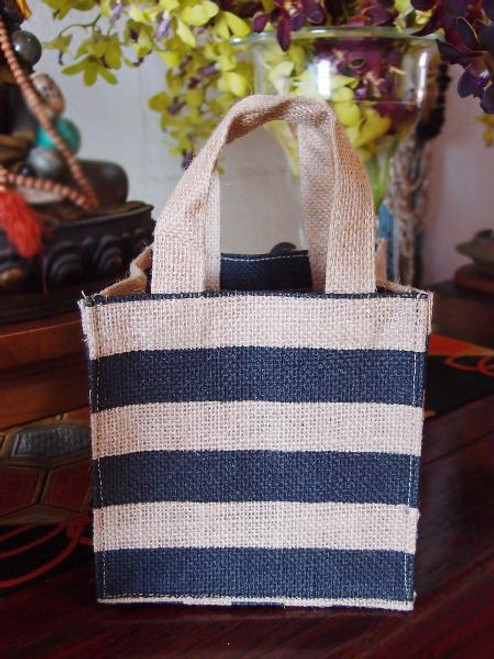 "Jute Plant Tote with Black Stripes - 6"" x 6"" x 6"""