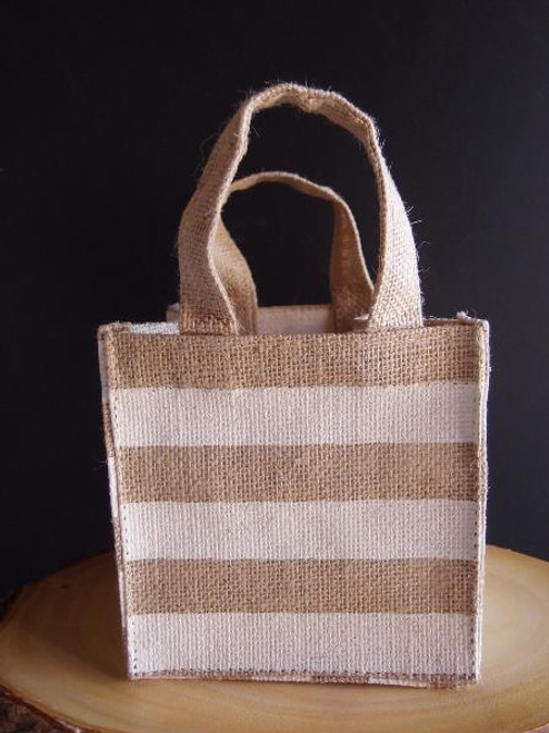 "Jute Plant Tote with White Stripes - 6"" x 6"" x 6"""