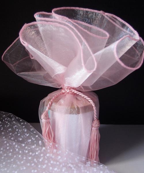 "Pink Sheer Wrapper w/Tassel 28"" dia."