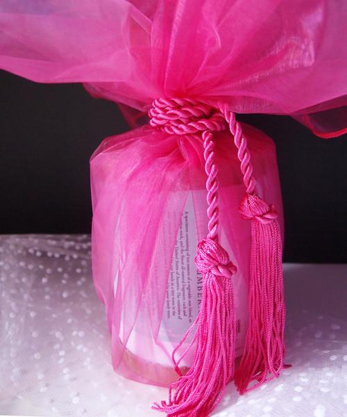 "Hot Pink Sheer Wrapper w/Tassel 28"" dia."
