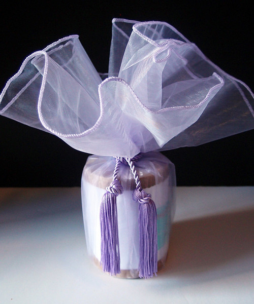 "Lavender Sheer Wrapper w/Tassel 28"" dia."