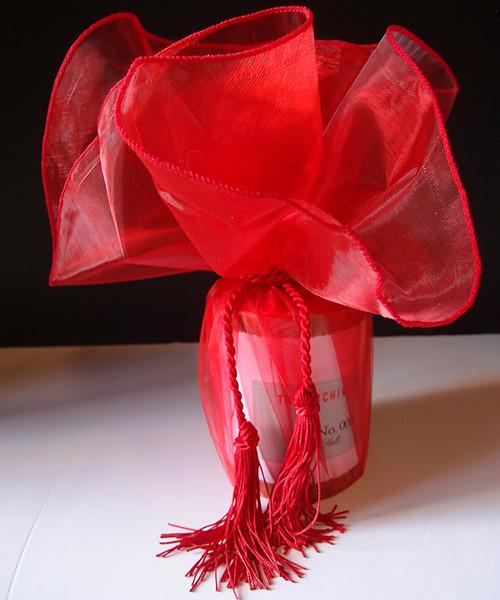 "Red Sheer Wrapper w/Tassel 28"" dia."