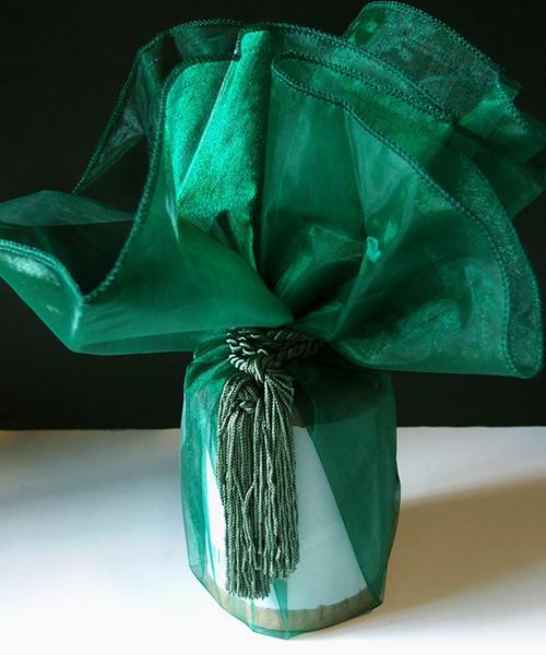 "Hunter Green Sheer Wrapper w/Tassel 28"" dia."