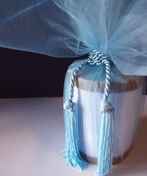 """Light Blue Sheer Wrapper w/Tassel 28"""" dia."""
