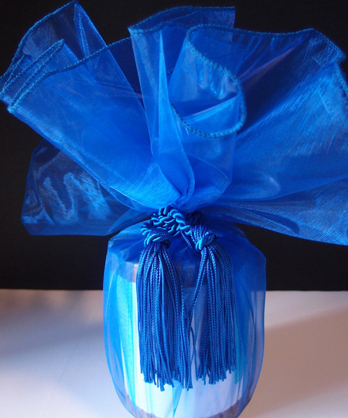 "Royal Blue Sheer Wrapper w/Tassel 28"" dia."