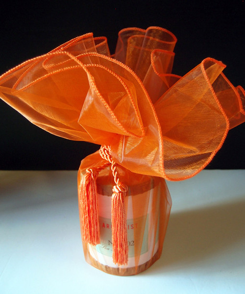 "Orange Sheer Wrapper w/Tassel 28"" dia."