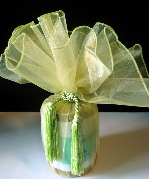 "Mint Sheer Wrapper w/Tassel 28"" dia."