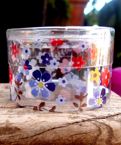 "2""dia. x 1""H Cylinder Box-Purple/Red Floral"
