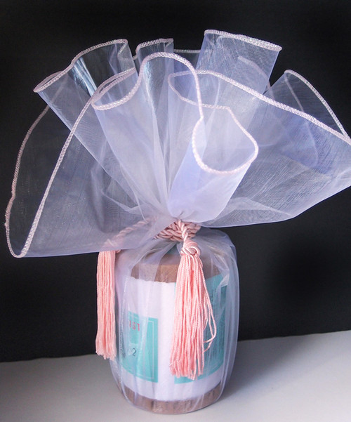 "White/Pink Edge Wrapper w/Tassel 28"" dia."