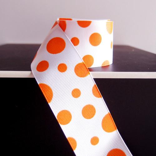 Orange Polka Dot Grosgrain Ribbon