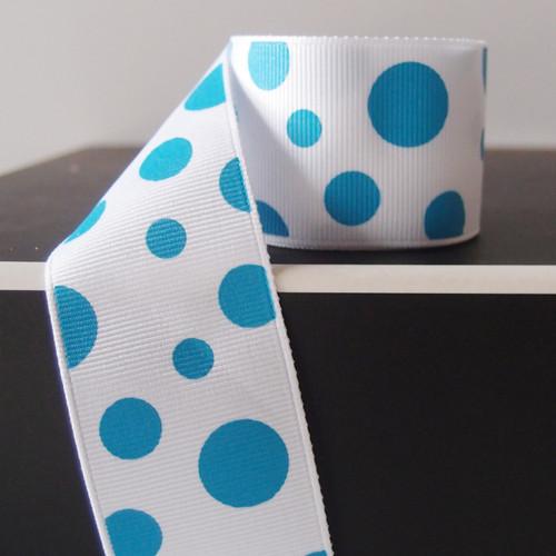 Turquoise Polka Dot Grosgrain Ribbon